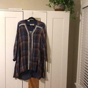 Plaid Crochet Detailed Dress